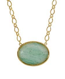 Gold-Tone Aventurine Semi Precious Oval Stone Necklace