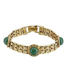Gold-Tone Round Semi Precious Aventurine Link Bracelet