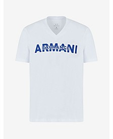 Men's Short Sleeve Armani Exchange Layered Logo V-Neck T-Shirt