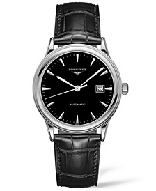 Men's Swiss Automatic Flagship Black Alligator Leather Strap Watch 40mm