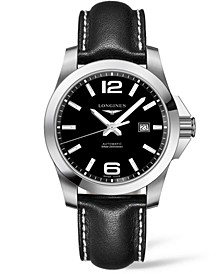 Men's Swiss Automatic HydroConquest Black Leather Strap Watch 43mm