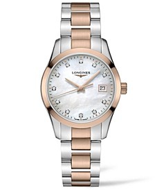 Women's Swiss Conquest Classic Diamond (1/20 ct. t.w.) Two-Tone Stainless Steel Bracelet Watch 34mm