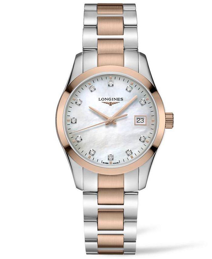 Longines - Women's Swiss Conquest Classic Diamond (1/20 ct. t.w.) Two-Tone Stainless Steel Bracelet Watch 34mm