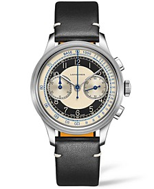 Men's Swiss Automatic Chronograph Heritage Classic Black Leather Strap Watch 40mm