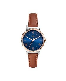 Women's Daisy Brown Leather Strap Watch 34mm