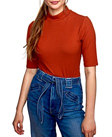 Juniors' Rib-Knit Mock-Neck Bodysuit