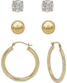 3-Pc. Earrings Set Hoop, Ball Stud & Cubic Zirconia Stud Earrings