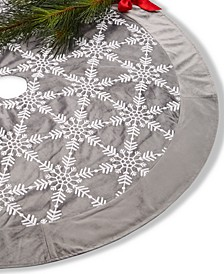 Gray White Snowflake Tree Skirt, Created for Macy's