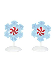 Lit Peppermint Snowflakes Figurines