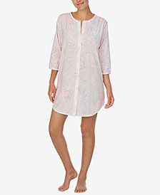 로렌 랄프로렌 슬립셔츠 나이트가운 Lauren Ralph Lauren Paisley Print Sleepshirt Nightgown,Pink Print