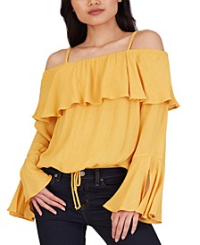 Juniors' Textured Metallic Cold-Shoulder Top