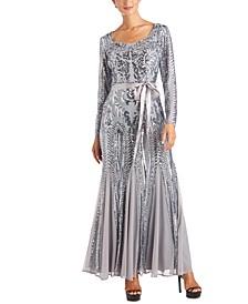 Petite Embellished Godet Gown