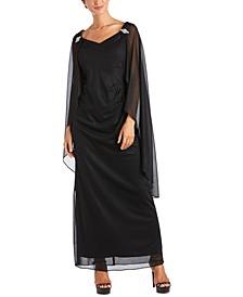 Plus Size Empire-Waist Cape Gown