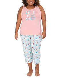 Plus Size Pineapple Tank & Capri Pajama Set, Online Only