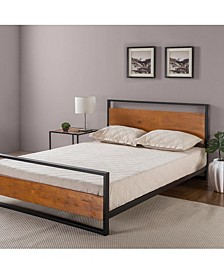 Suzanne Metal and Wood Platform Bed with Headboard and Footboard, Full