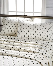 Spruce Tree Print Cotton Flannel King Sheet Set