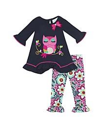 Baby Girls 2-Pc. Owl Top & Printed Leggings Set