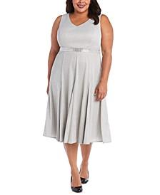 Plus Size Metallic Fit & Flare Dress