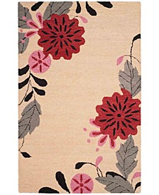 Picture Block Floral MSR4871A Ivory 4' x 6' Area Rug