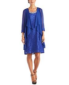 Petite Glitter Lace Dress & Waterfall Jacket