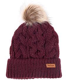 Penshaw Cable-Knit Faux-Fur Pom-Pom Hat