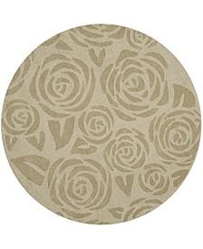 Block Print Rose MSR4618D Gold 8' x 8' Round Area Rug