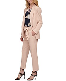 Puff-Sleeve Jacket, Abstract-Print Top, & Belted Pants
