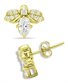 Cubic Zirconia Bee Stud Earrings in 18k Gold-Plated Sterling Silver, Created for Macy's