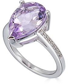 Pink Amethyst (3-1/2 ct. t.w.) & White Topaz (1/10 ct. t.w.) Ring in Sterling Silver (Also in Blue Topaz & Green Quartz)