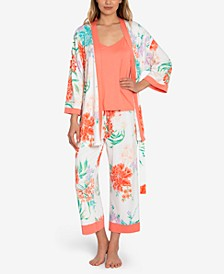Floral-Print 3pc Pajama Set