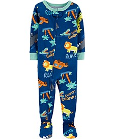 Baby Boys Safari-Print Cotton Footed Pajamas