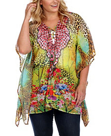White Mark Plus Size Criss-Cross Neckline Animal Print Caftan Top