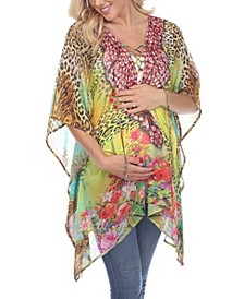 Women's Maternity Animal Print Caftan with Tie-Up Neckline