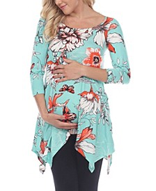 Women's Maternity Floral Scoop Neck Tunic Top with Pockets