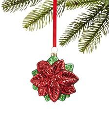 Christmas Cheer Glass Poinsettia Ornament, Created for Macy's