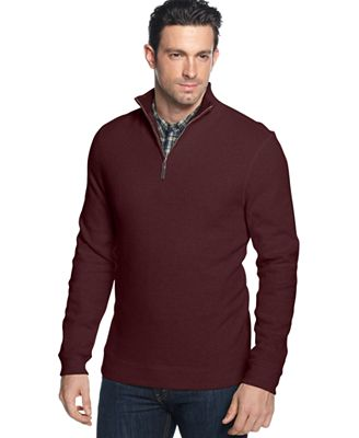 Tasso Elba Quarter-Zip Mock Neck French Ribbed Pullover - Sweaters ...