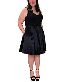 Trendy Plus Size Lace-Top Fit & Flare Dress