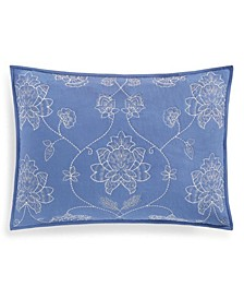 Batik Floral Embroidery Quilted King Sham, Created for Macy's