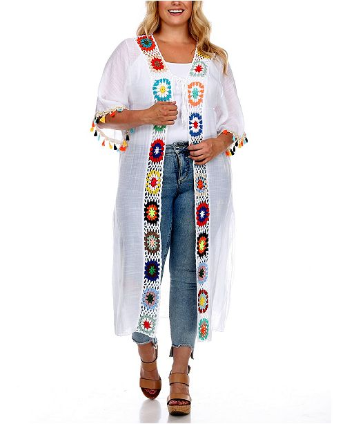 White Mark Plus Size Crochet Cover-Up Kimono