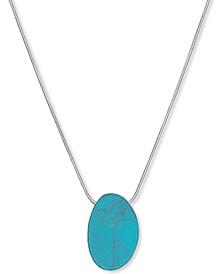 "Silver-Tone Semi-Precious Turquoise Pendant Necklace, 32"" + 2"" extender"