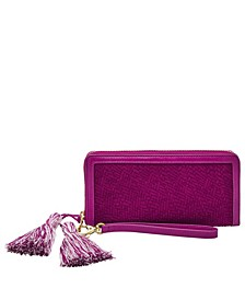 Women's Logan Zip Around Clutch Woven Emboss with Tassel