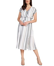 Smocked-Waist Striped Midi Dress