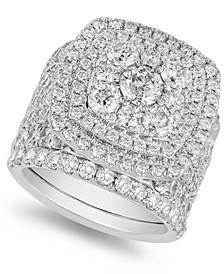 Diamond (6 ct. t.w.) Halo Cluster Bridal Set in 14k White Gold