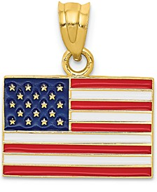 USA Flag Charm Pendant in 14k Yellow Gold & Enamel