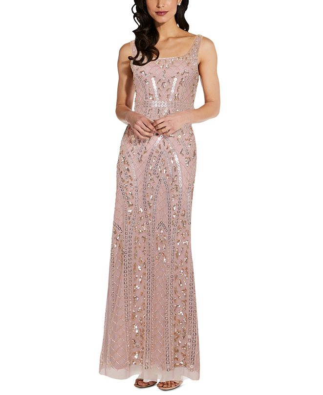 Adrianna Papell Petite Beaded Gown