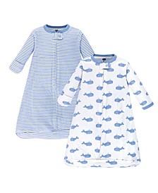 Baby Boy Long Sleeve Wearable Sleeping Bag/Blanket, 2 Pack