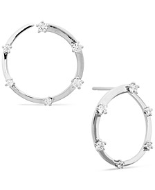 Cubic Zirconia Front-and-Back Hoop Earrings