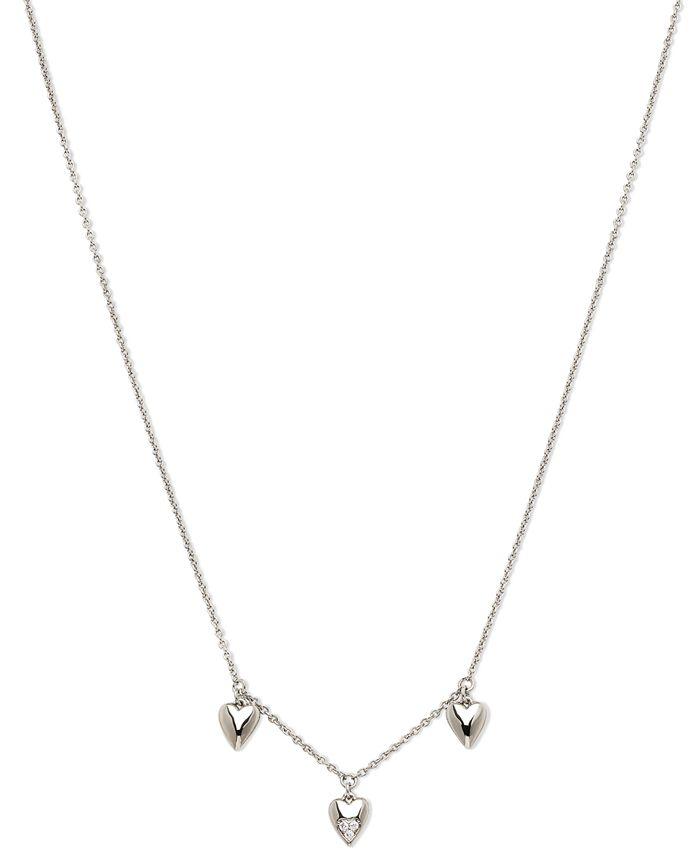 "AVA NADRI - Silver-Tone Cubic Zirconia Triple-Heart Collar Necklace, 16"" + 1"" extender"