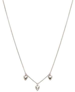Silver-Tone Cubic Zirconia Triple-Heart Collar Necklace