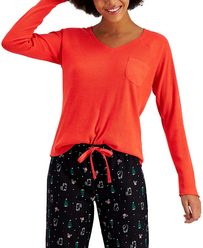 Jenni Ribbed Hacci Sweater Knit Pajama Top, Created for Macy's